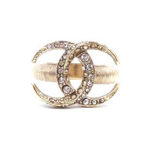 Gold Rare Cc Crystals Dubai Moon Hardware Ring
